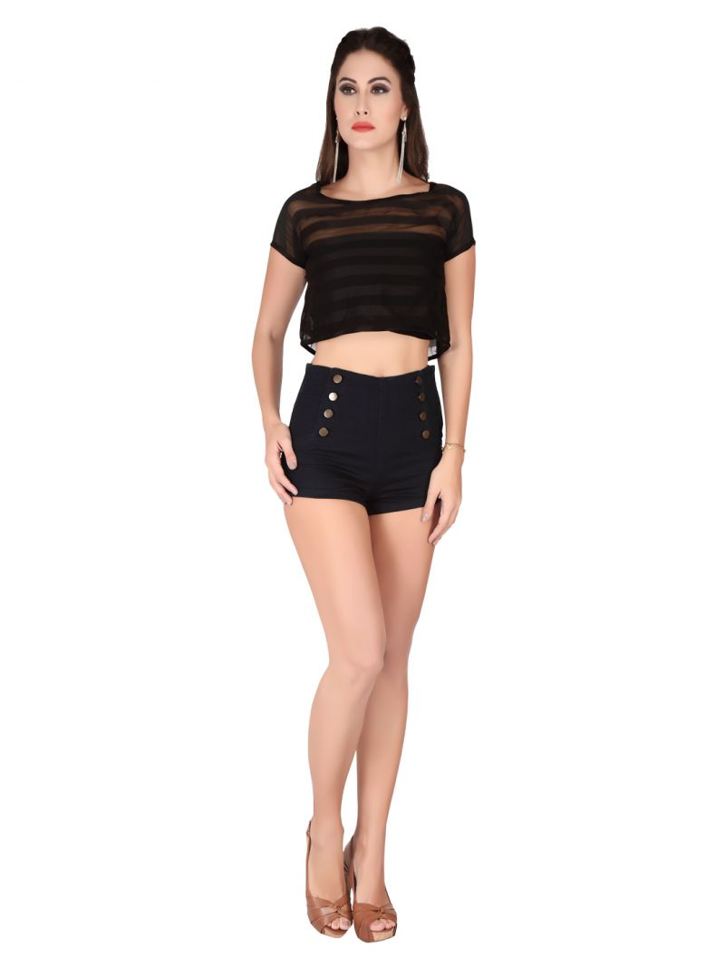 Buy Soie Black Satin Strip Georgette Crop Top For Women online