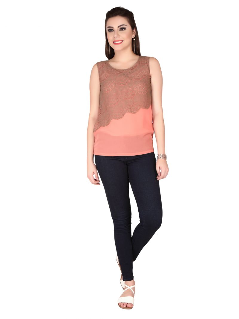 Buy Soie Peach Georgette Top For Women online
