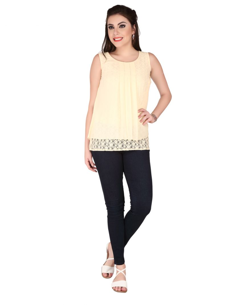 Buy Soie Ivory Structured Georgette, Lace Fabric Top For Women online
