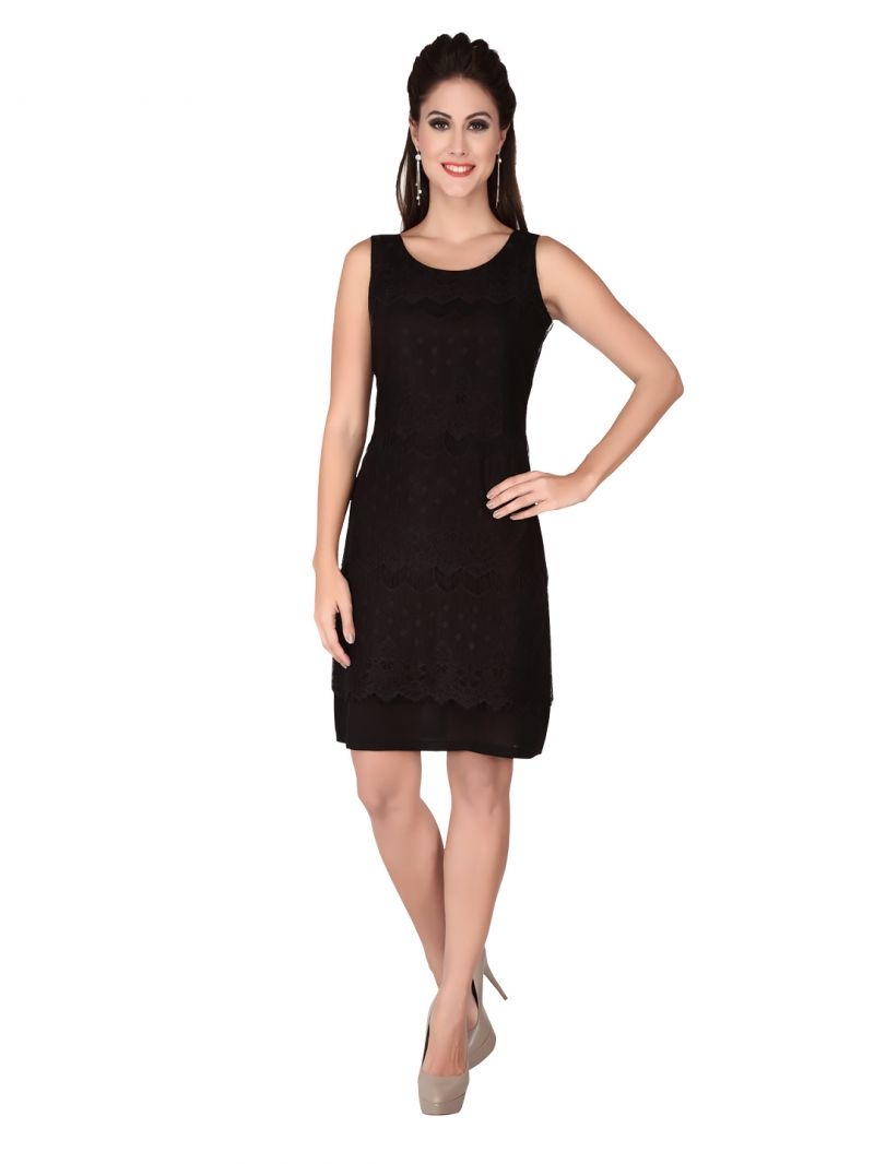 Buy Soie Black Lace Fabric, Georgette Dress For Women (code - 6318black) online