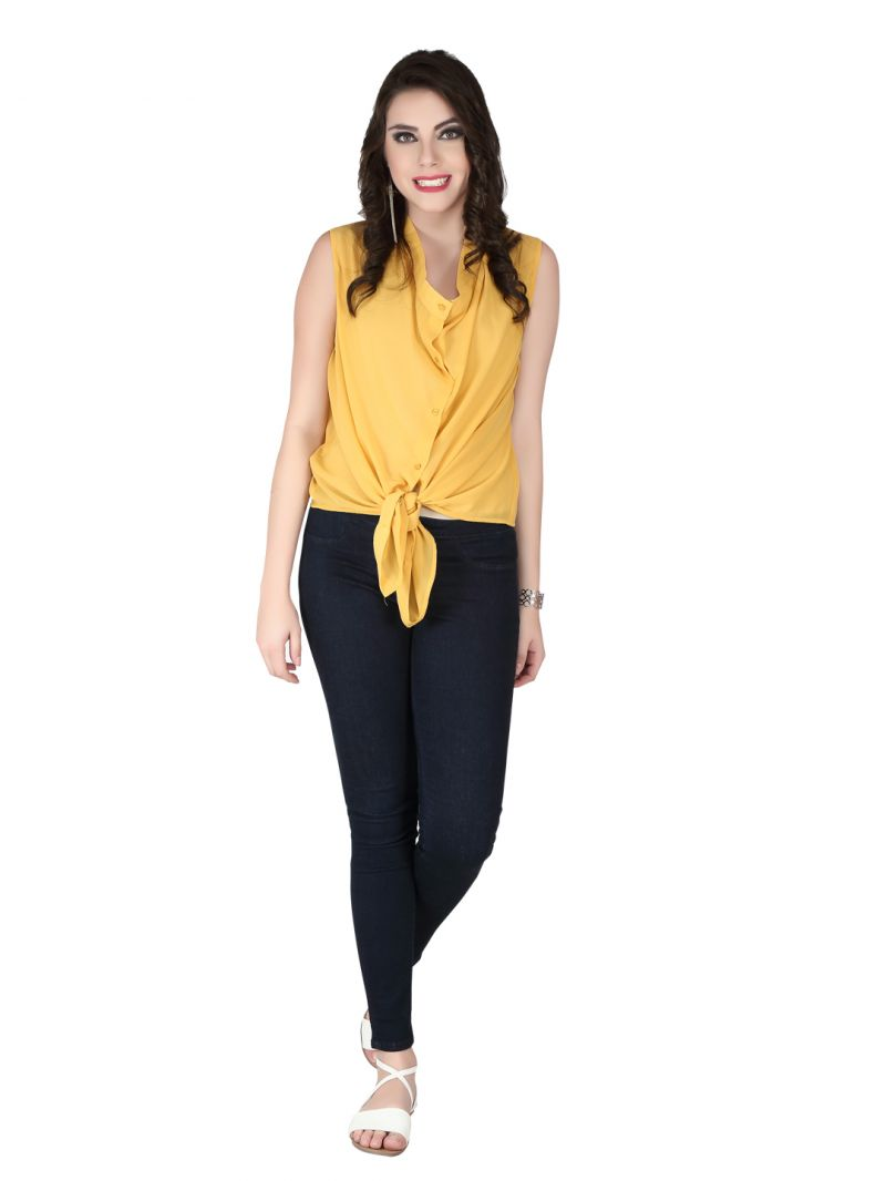 Buy Soie Yellow Georgette Top For Women (code - 6165_i_yellow) online