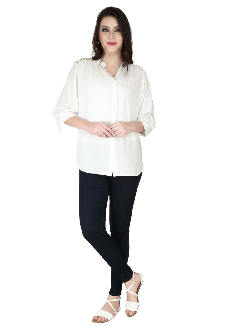 Buy Soie Off White Rayon Top For Women online