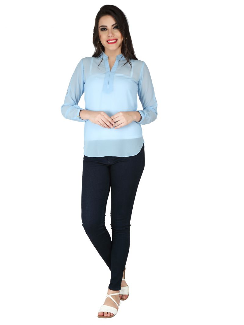 Buy Soie Ice Blue Georgette Top For Women online