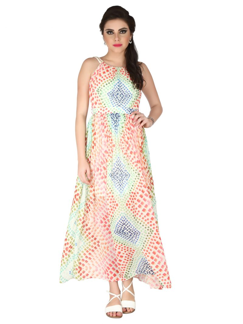 Buy Soie Printed All Over Printed Georgette Maxi For Women online