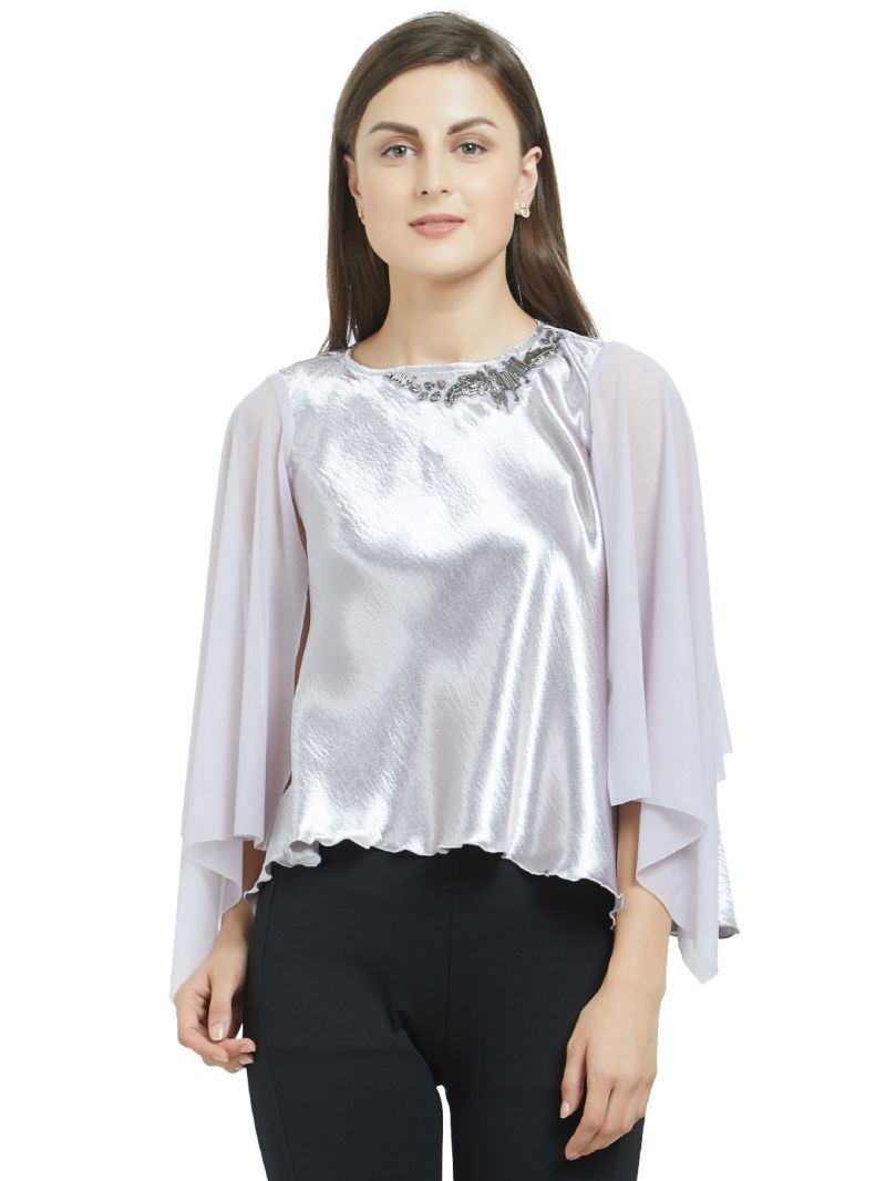Buy SOIE Women's Umbrella Sleeves Embellished Top Polyester online