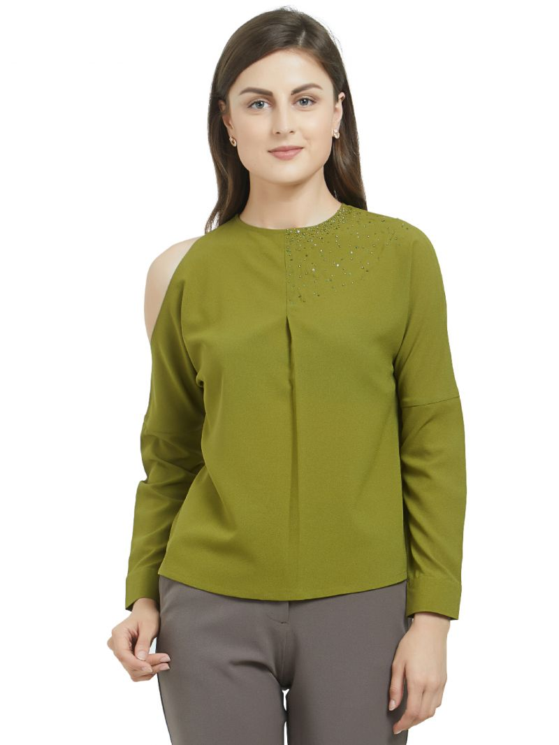 Buy SOIE Women's Asymmetric Cold Shoulder Top Polyester online