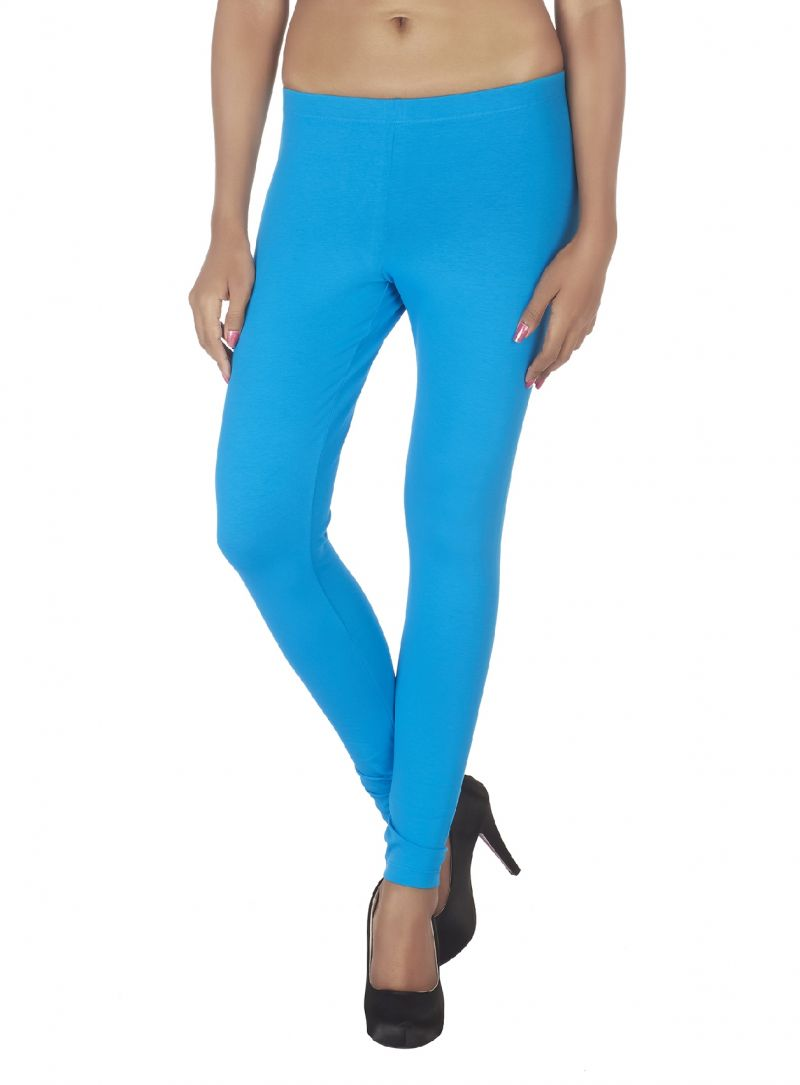 Buy Soie White Solid Leggings_Blue online