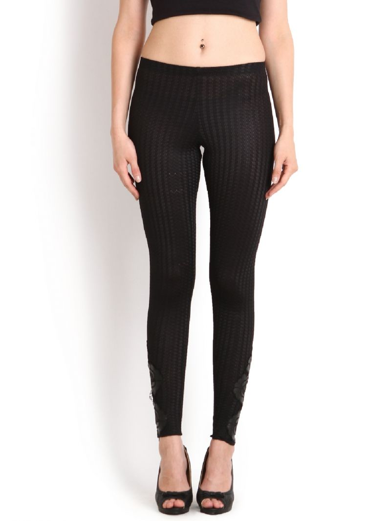 Buy Soie Fashion Ankle Length Legging Embossed, Leather Applique online