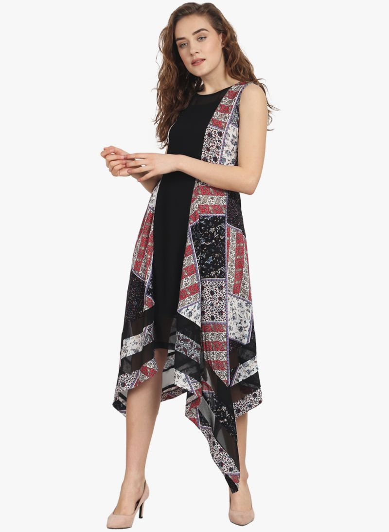 Buy Soie Womens Sleeveless Printed Dress - (code - 6843black) online