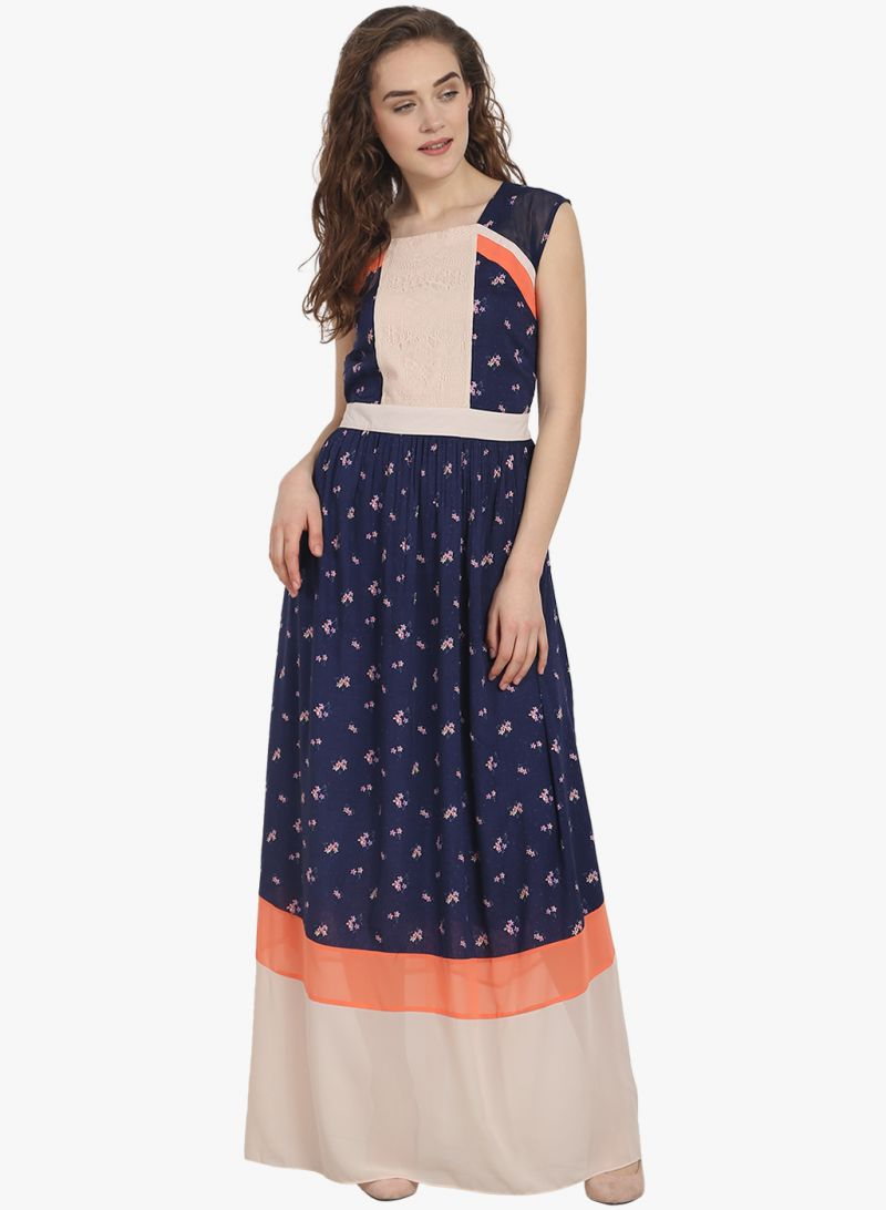 Buy Soie Womens Sleeveless Printed Maxi Dress - (code - 6879blue) online