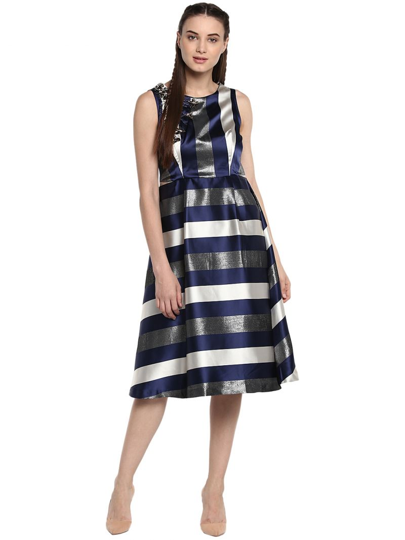 Buy Soie Women's Stripes Dress With Embroidary ( Code - 7043n.blue ) online