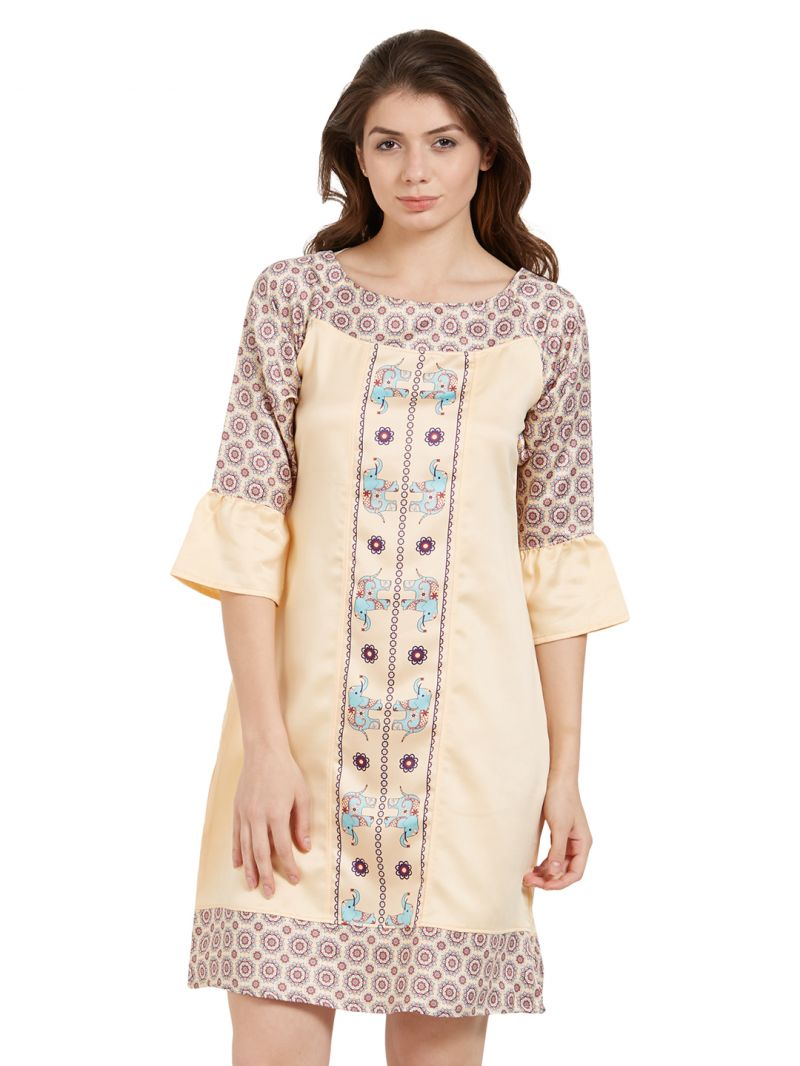 Buy Soie Women'S Sleepshirt With Elephant Placement Print online