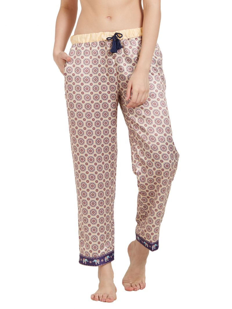 Buy Soie Women'S All Over Printed Pyjamas With Printed Border online