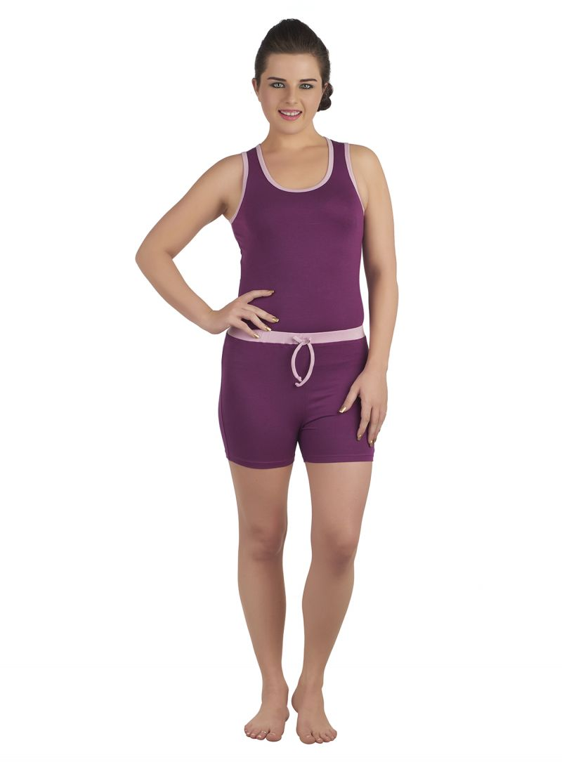 Buy Soie Wine/Mauve Cotton / Spandex Night Suit For Women online