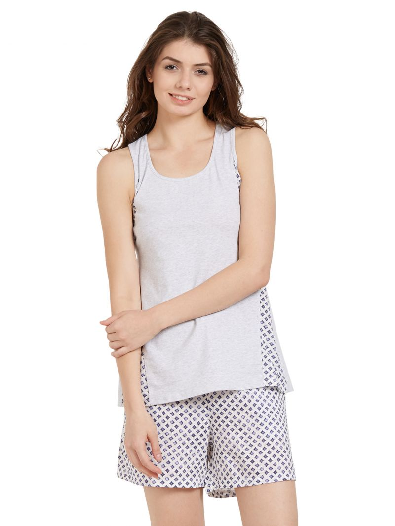 Buy Soie Women'S Panelled Flared Top And Indigo Printed Shorts Set online