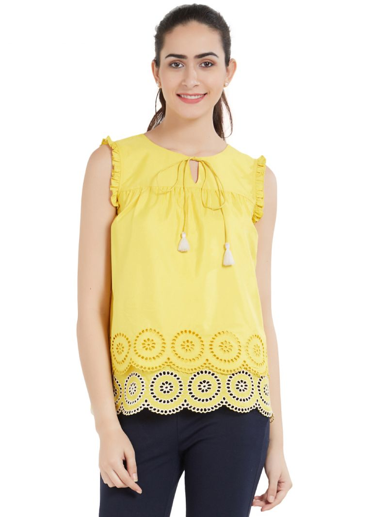 Buy Soie Women's Layered Top (code - Ol-02yellow) online