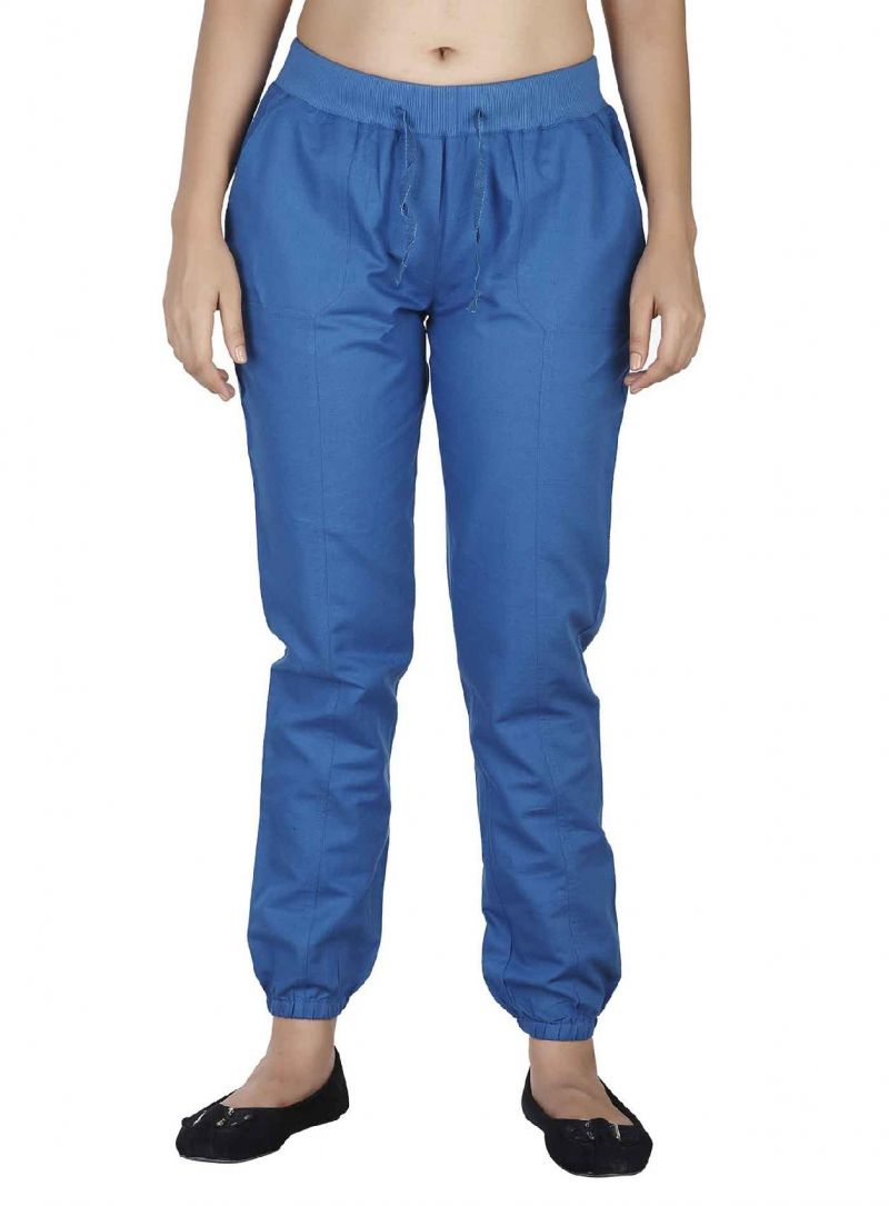 Buy Soie Casual Lose Linen Pants , Elastic At The Bottom & A Draw String_Blue online