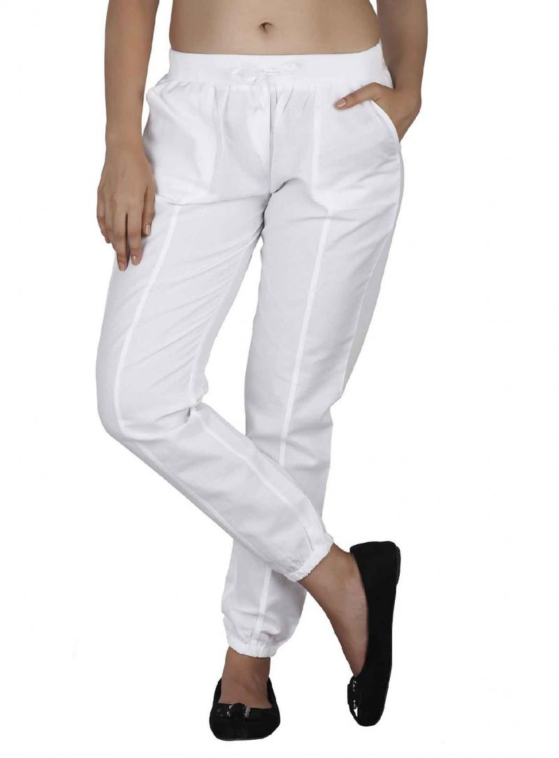 Buy Soie Casual Lose Linen Pants , Elastic At The Bottom & A Draw String_White online