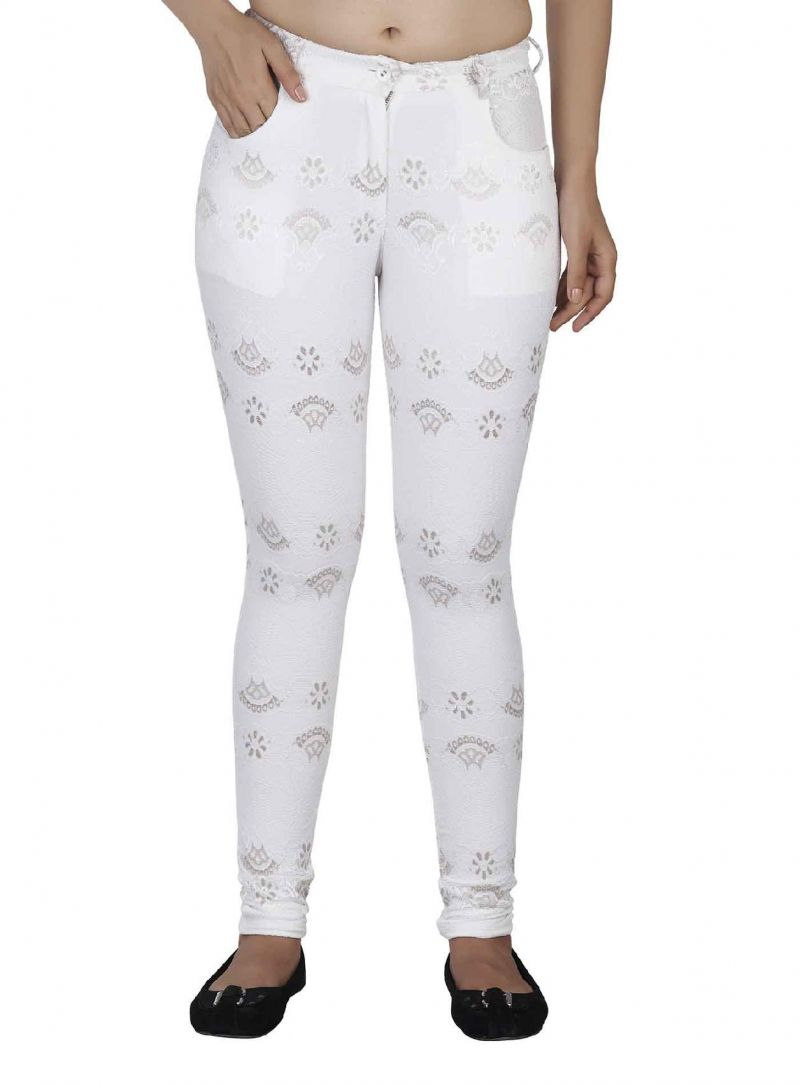Buy Soie Straight Cut Pant, Golden Touch To Embroidered Lace Fabric online