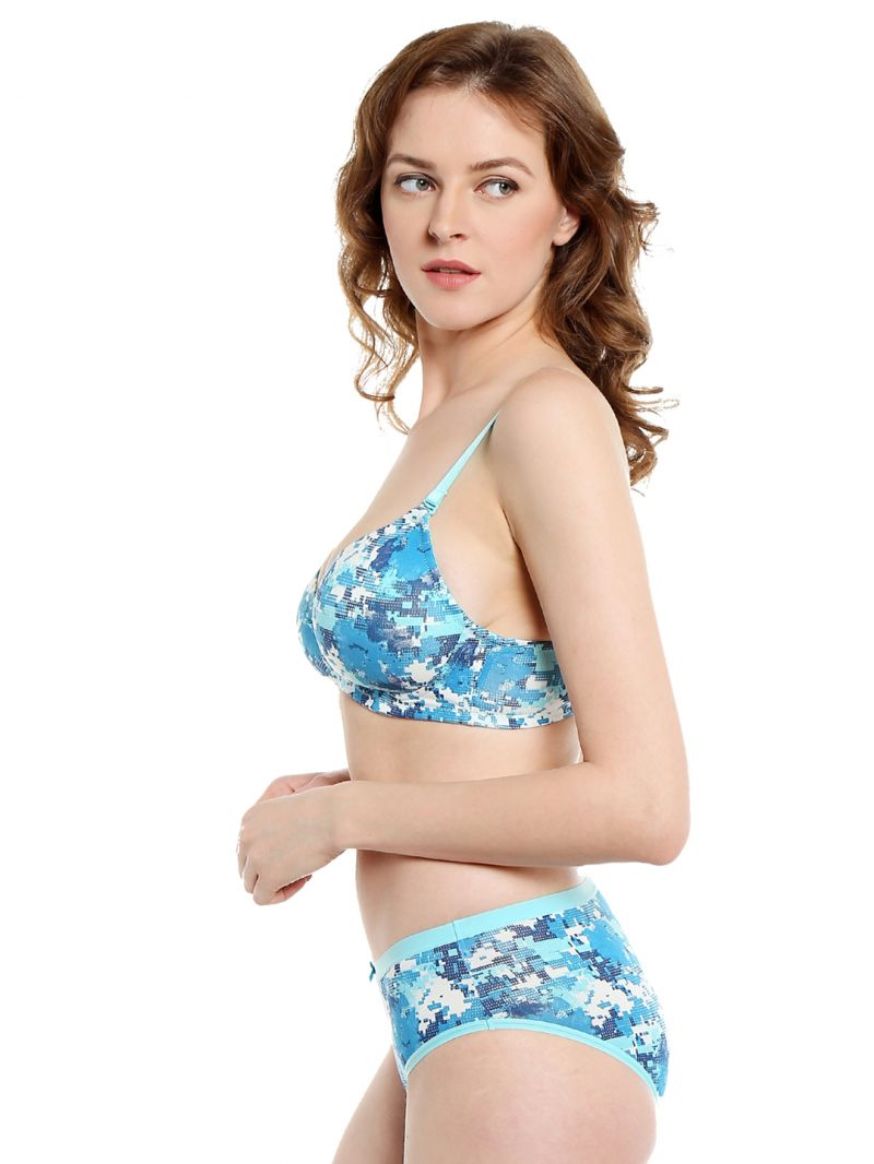 Soie Pixalated Print Non Wired Organic Cotton Padded Bra And Matching Panty  (code - Set 114+1114p-4) 4b7ed7a36