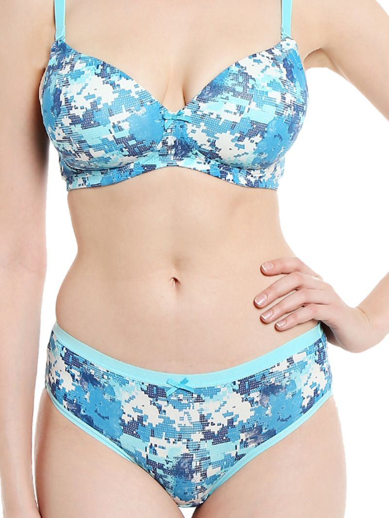 f0bdc5e99cb8 Soie Pixalated Print Non Wired Organic Cotton Padded Bra And Matching Panty  (code - Set 114+1114p-4)