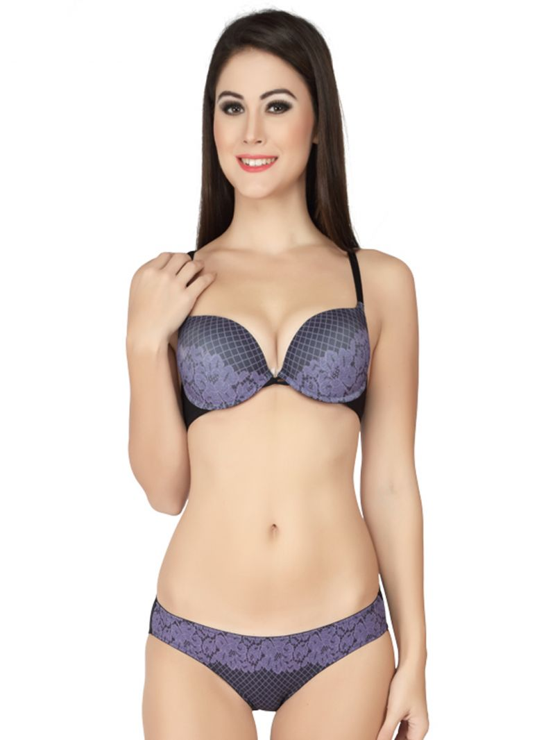 Buy Soie Blue Cleavage Boosting Push Underwired Bra And Panty Set (code - Set 520+1520blue) online