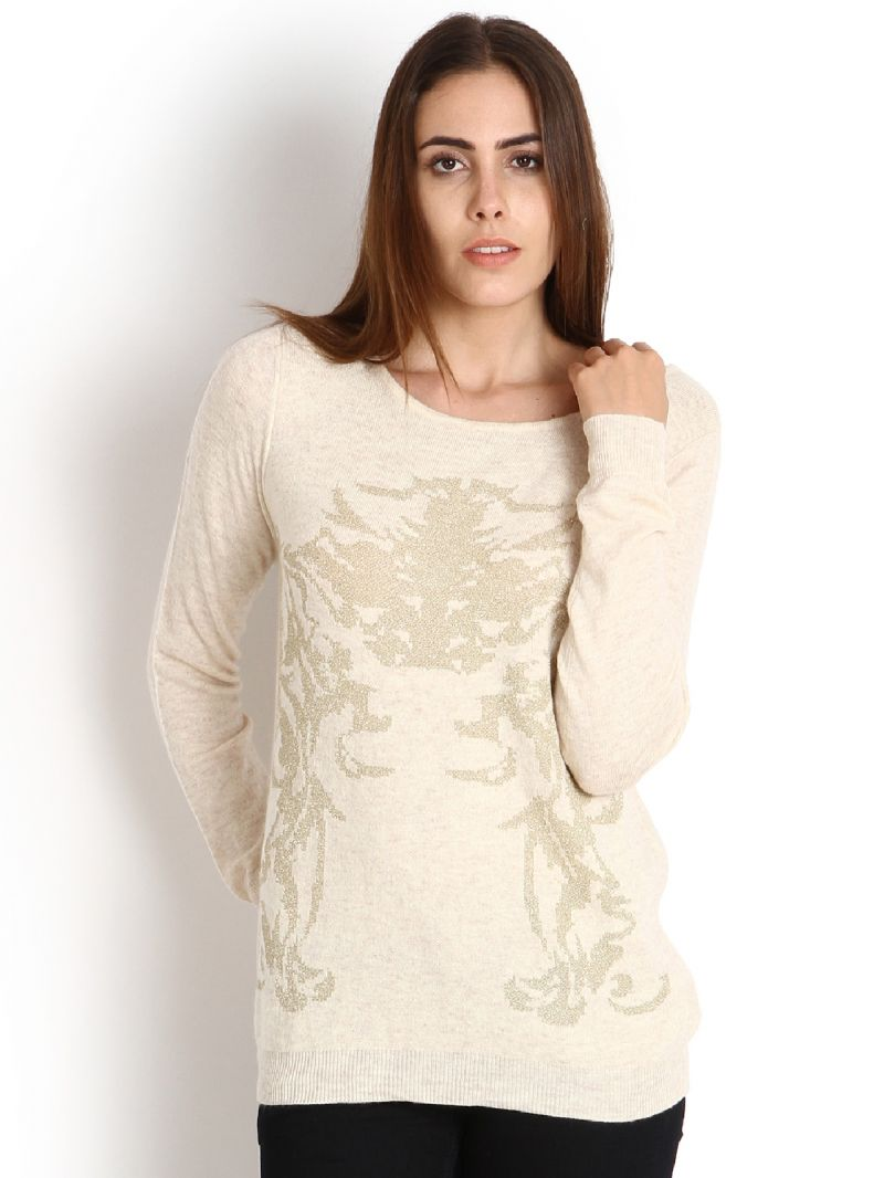 Buy Soie Woollen Pullover, Golden Motifs On Chest_Beige online