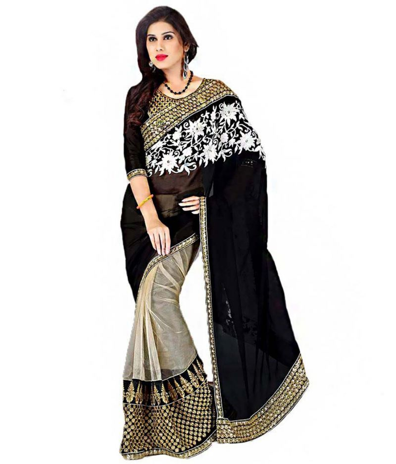 Buy Fabkaz Women Goergette  Heavy Net Black Colour Embroidey Designer Saree online