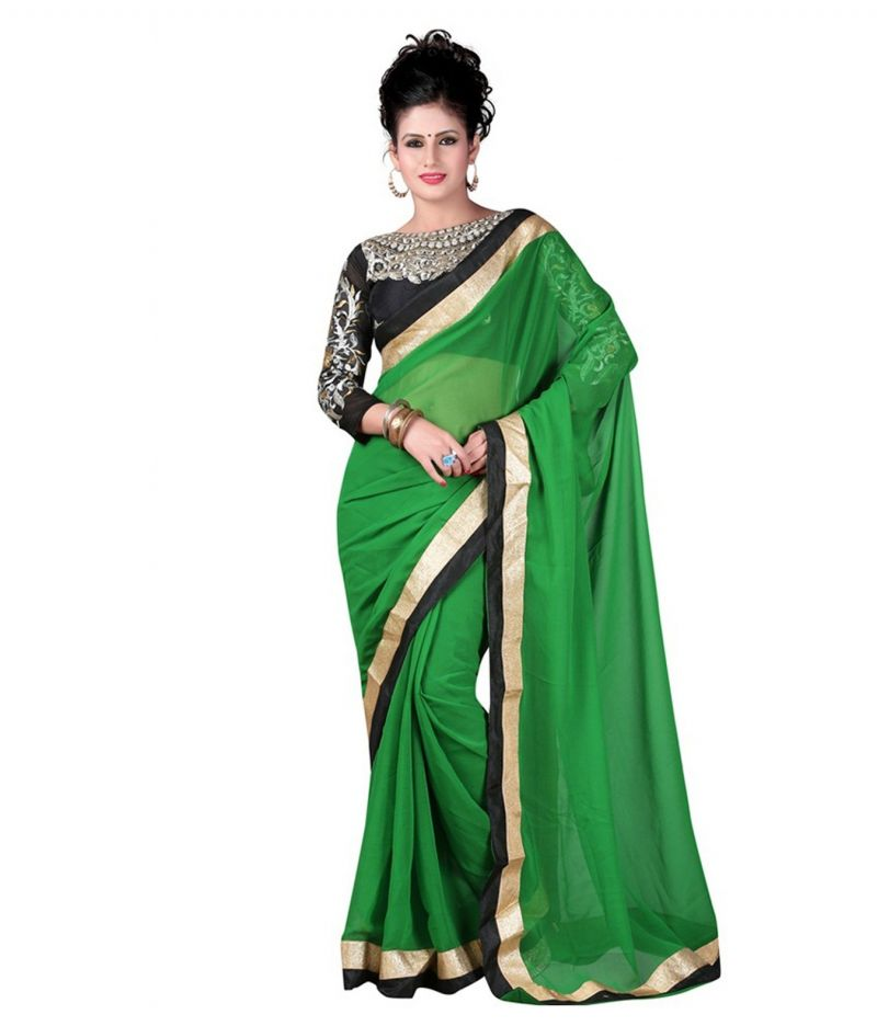 Buy Fabkaz Women Chiffon Green Colour Embroidey Designer Saree online