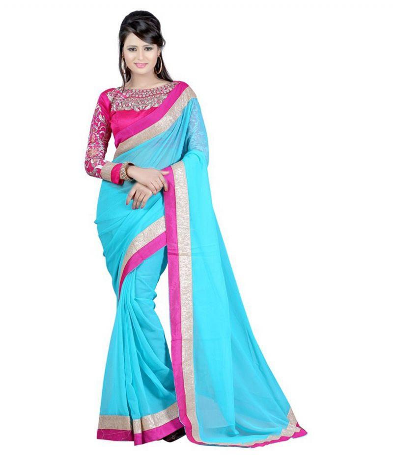 Buy Fabkaz Women Chiffon Tan Colour Embroidey Designer Saree - (code - Fks020) online