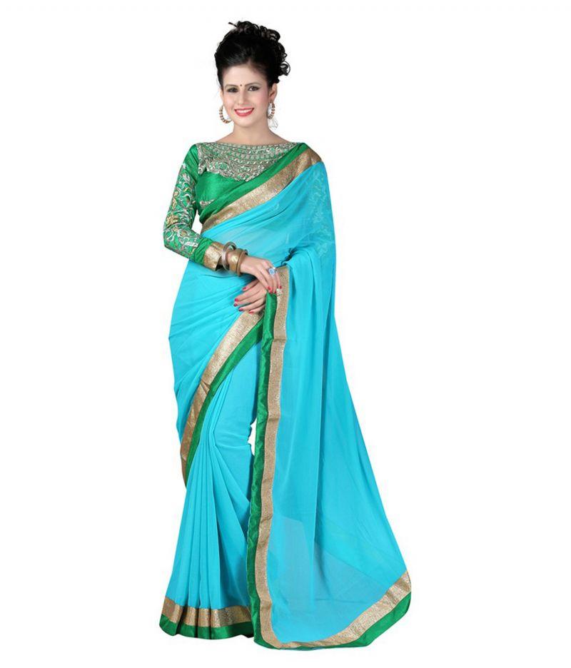 Buy Fabkaz Women Chiffon Beige Colour Embroidey Designer Saree - (code - Fks039) online