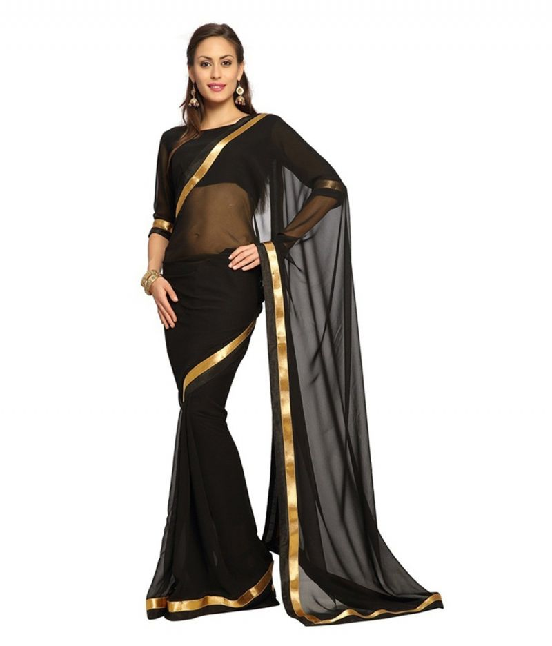 Buy Fabkaz Women Georgette Black Colour Lace Border Work Designer Saree - (code - Fks044) online