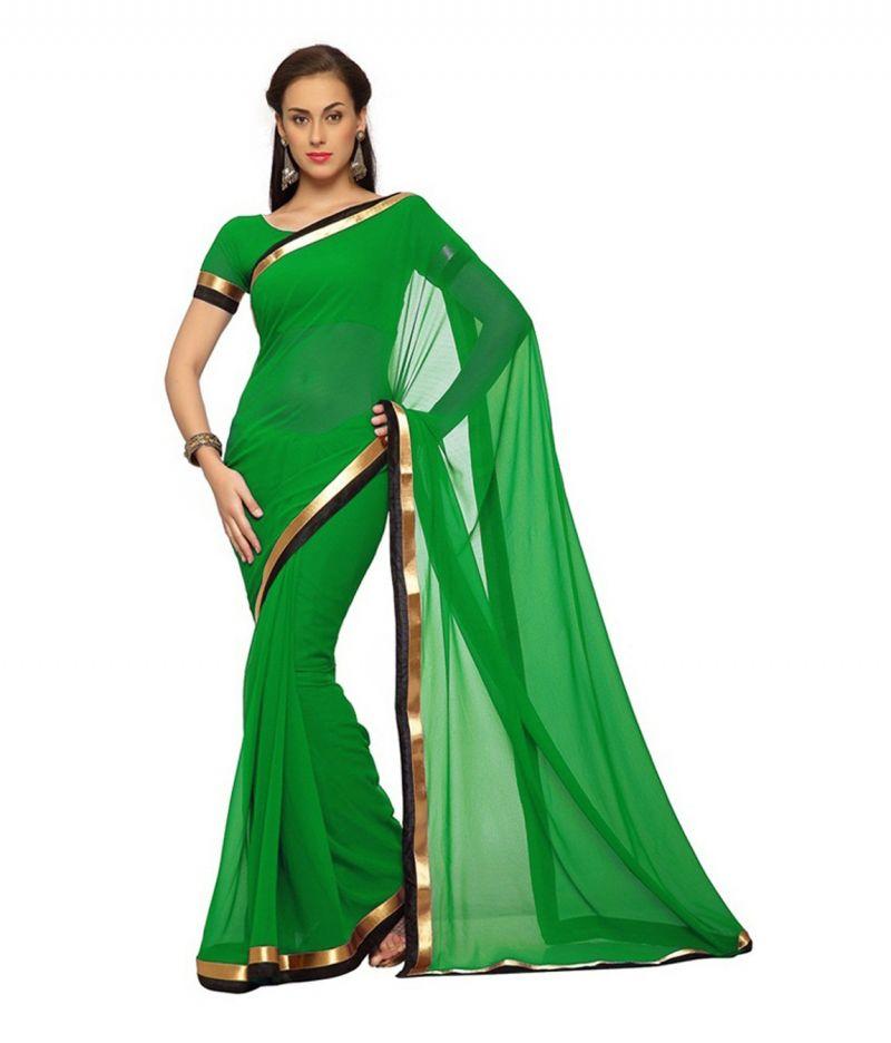 Buy Fabkaz Women Georgette Green Colour Lace Border Work Designer Saree - (code - Fks046) online