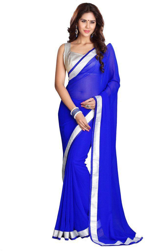 Buy Fabkaz Women Chiffon Blue Colour Lace Broder Work Designer Saree - (code - Fks065) online