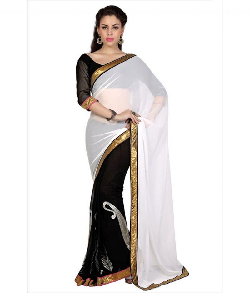 Buy Fabkaz Women Chiffon Yellow Colour Lace Broder Work Designer Saree - (code - Fks083) online