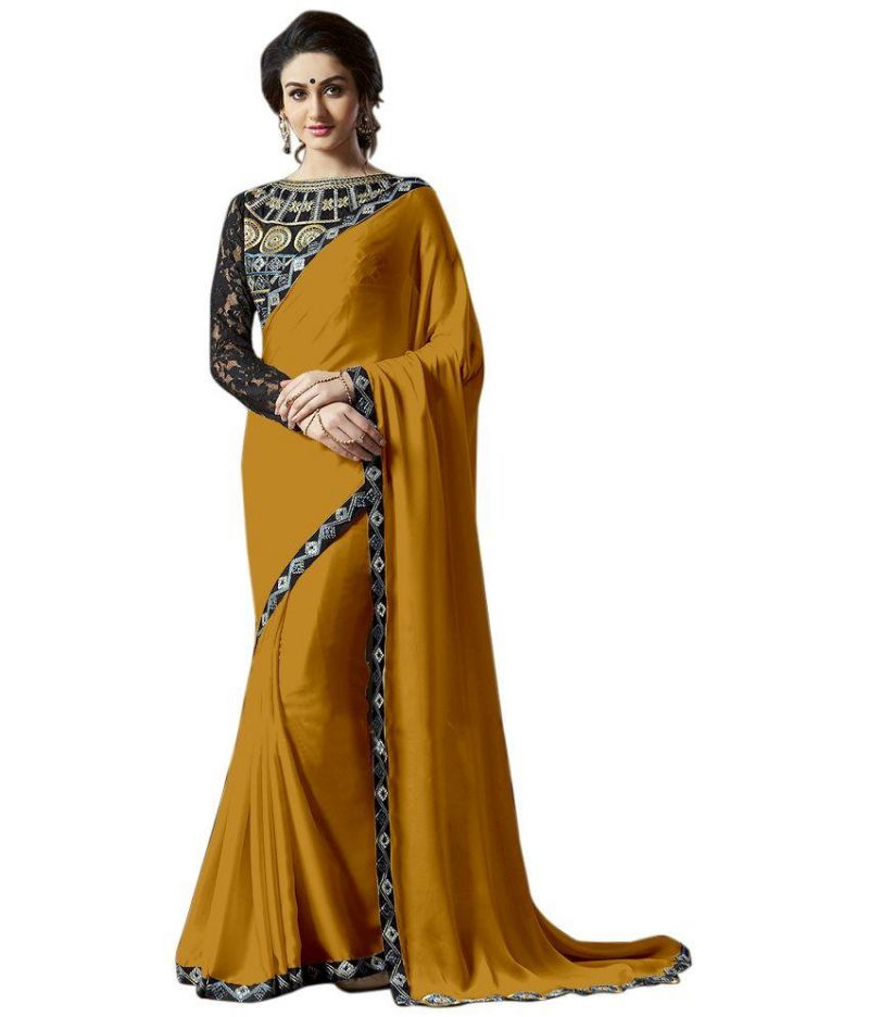 Buy Fabkaz Women Satin Chiffon Orange Colour Lace Broder Work Designer Saree - (code - Fks164) online