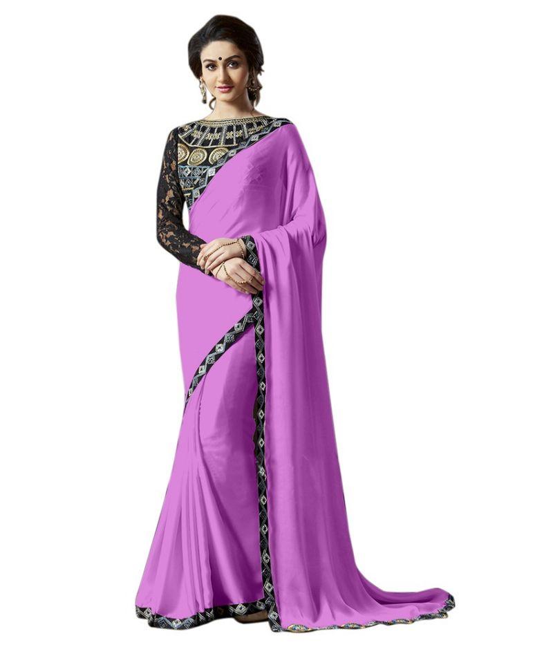 Buy Fabkaz Women Satin Chiffon Pink Colour Lace Broder Work Designer Saree - (code - Fks168) online