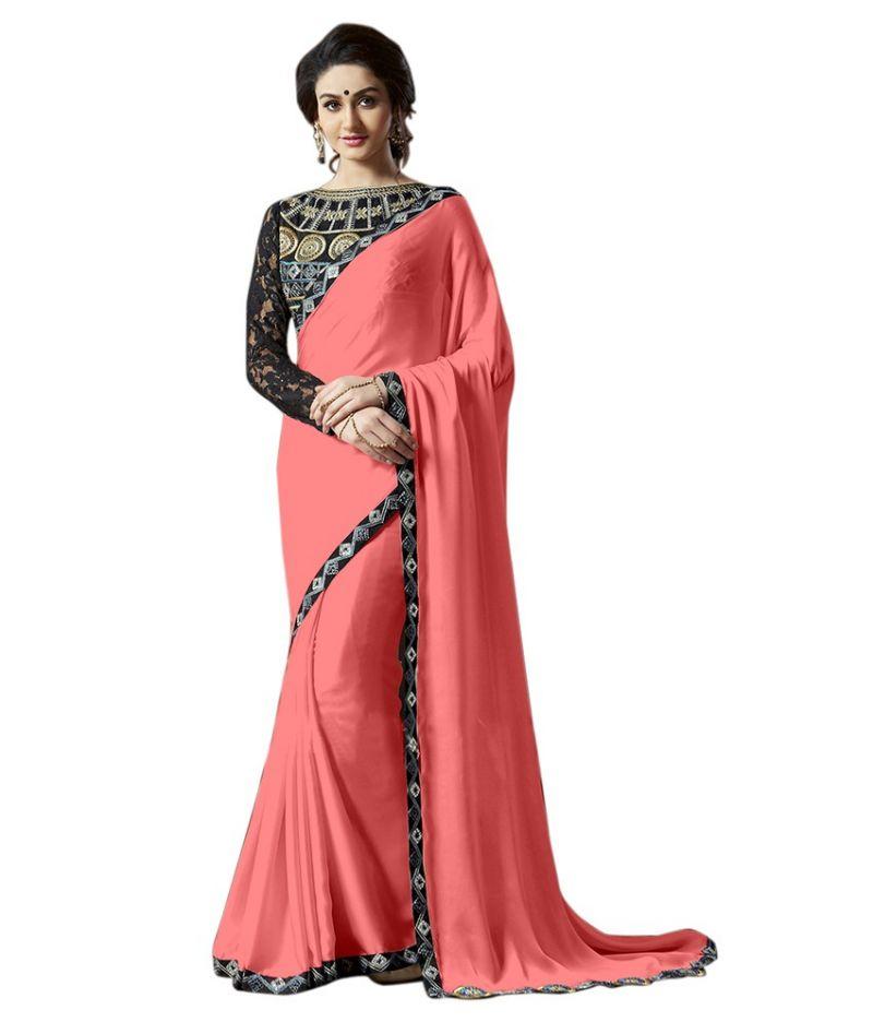 Buy Fabkaz Women Satin Chiffon Magenta Colour Lace Broder Work Designer Saree - (code - Fks171) online