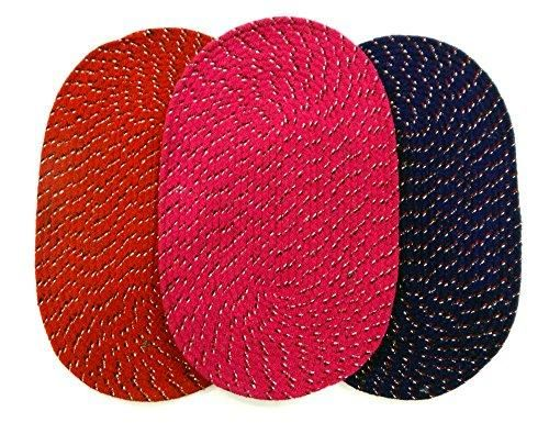 Buy Peponi Multicolor Cotton Hand Woven Door Mat Set Of 3 online
