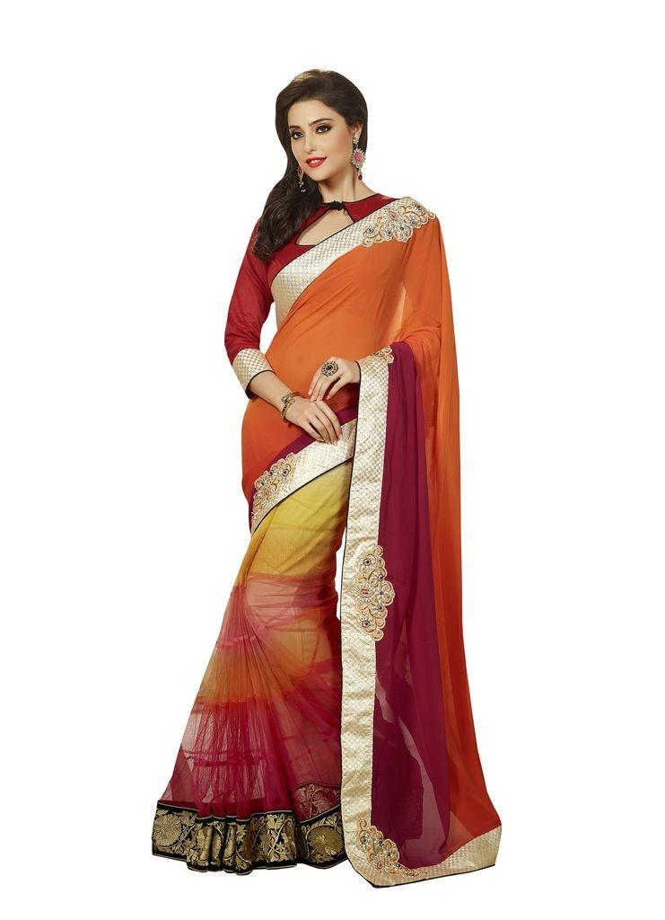 32c9ab9349d7ec Buy Vipul Womens Heavy embroideried Georgette   Art silk Half n Half saree  online