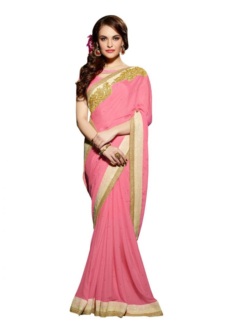 2cc1a272eb5973 Buy Vipul Multicoloured Chiffon Saree with Blouse Piece Online ...