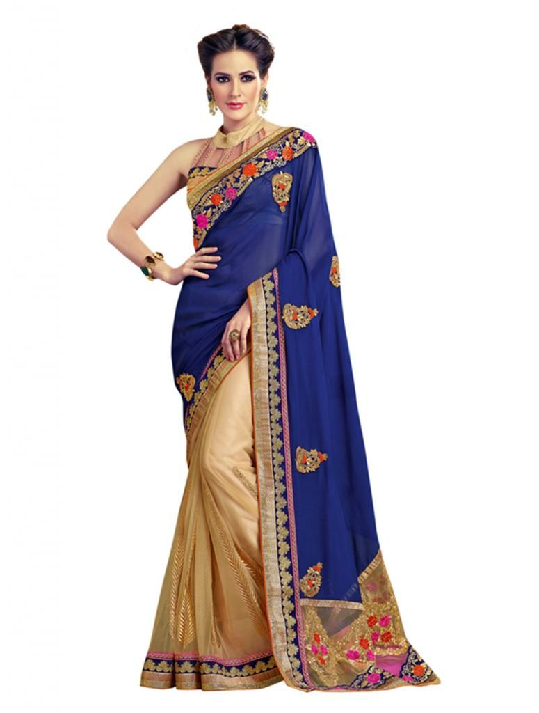 Buy Vipul Heavy Embroidery Gold & Blue Net Half & Half Saree online
