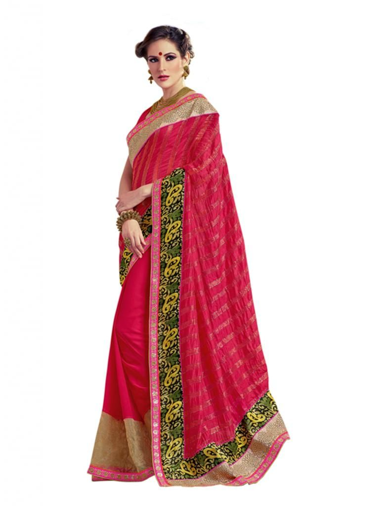 Buy Vipul Heavy Embroidery Red Georgette Saree online