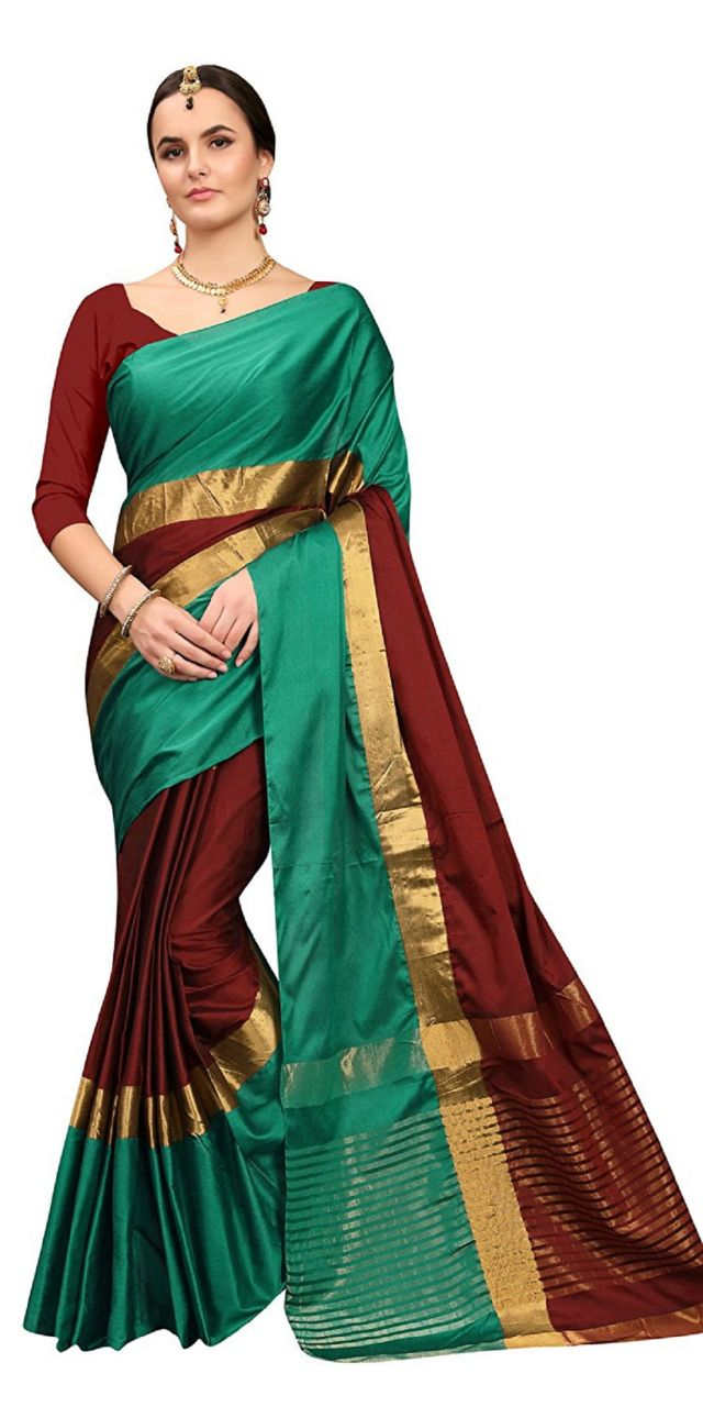 Buy Ruchika Fashion Women's Cotton Silk Saree With Blouse Piece Material (code - Angi-peacockbluerani ) online