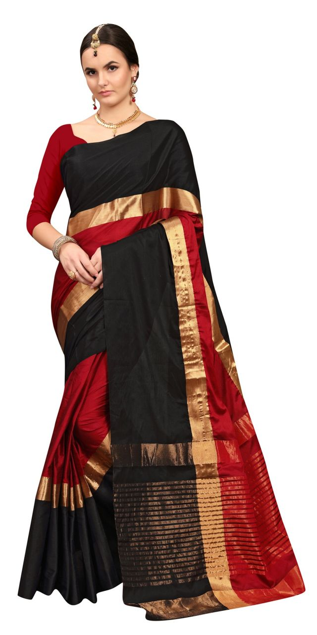Buy Ruchika Fashion Women's Cotton Silk Saree With Blouse Piece Material (code - Angi-blackred ) online