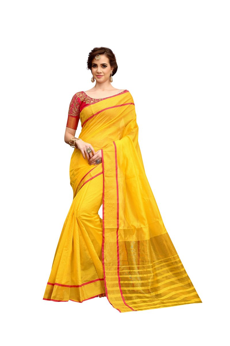 Buy Ruchika Fashion Yellow Color Cotton Silk Saree With Blouse Material-designer Saree.(code-designer Saree) online
