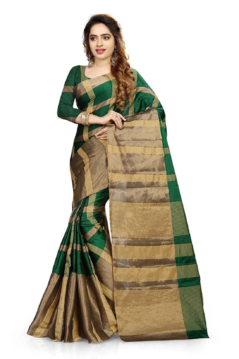 Buy Ruchika Fashion Women's Cotton Silk Saree With Blouse Piece Material (code - Aashiqee_green ) online