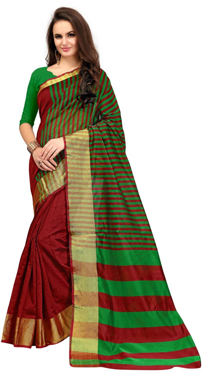 Buy Ruchika Fashion Women's Cotton Silk Saree With Blouse Piece Material.(code-patli_pallu_maroon) online