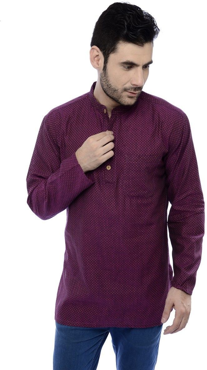 Buy Ecostyle Cotton Mangalagiri Stitch Lines Dark Plum Coloured Men's Ethnic Kurta online