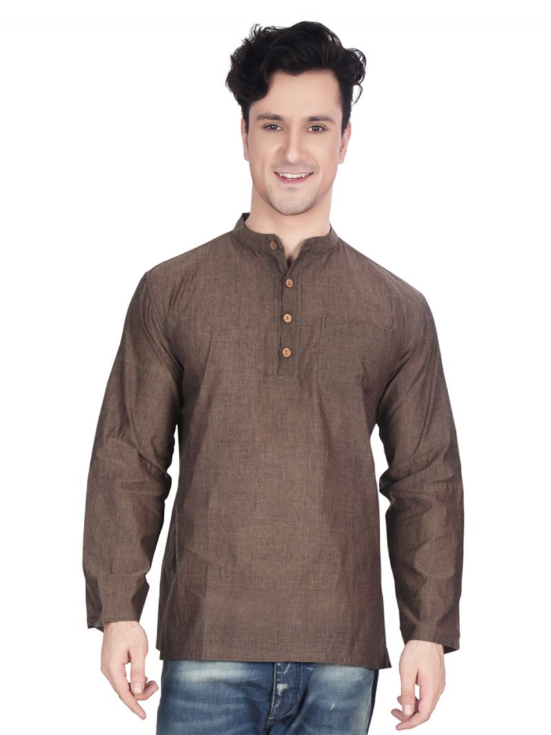 Buy Ecostyle Cotton Mangalagiri Plain Brown Coloured Men's Ethnic Kurta online